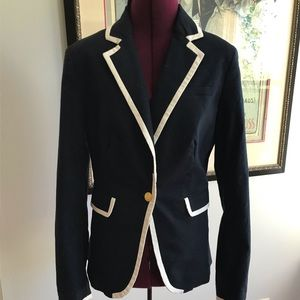 Banana Republic navy linen tipped blazer